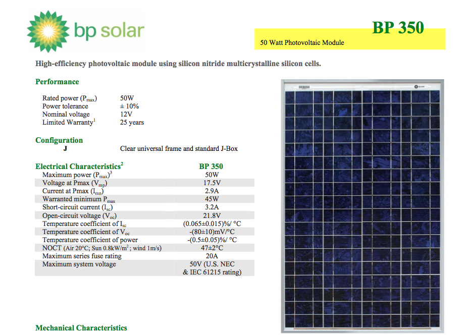 BP Solar 50W Solar Panel - 8 UNLIMITED Solar